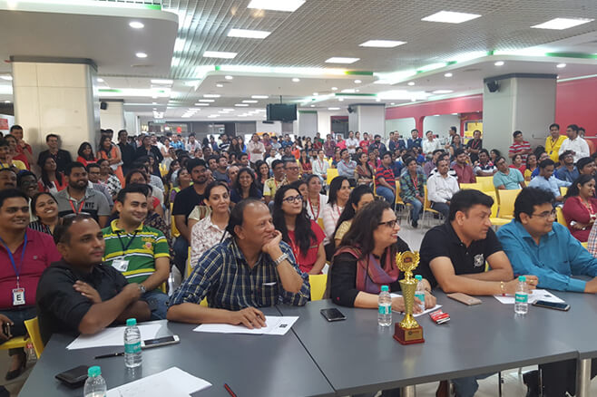 Judges at a Talent Show for Employees